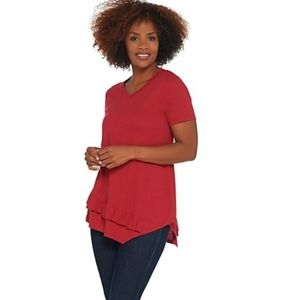 LOGO Lori Goldstein v-neck red short sleeve top